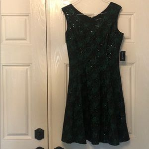 Green and black lace sequin dress